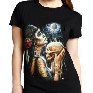 Living Dead Goth Lady Skull T-Shirt