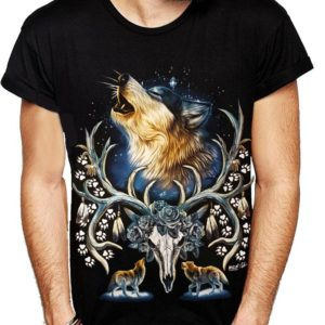 Howling Wolf Antlers T-Shirts